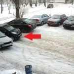 Смотрите аварию, в которой в один автомобиль за 1 час врезалось 7 машин